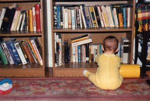 Never too early to introduce your child to books. This is Danny at about 8 months.