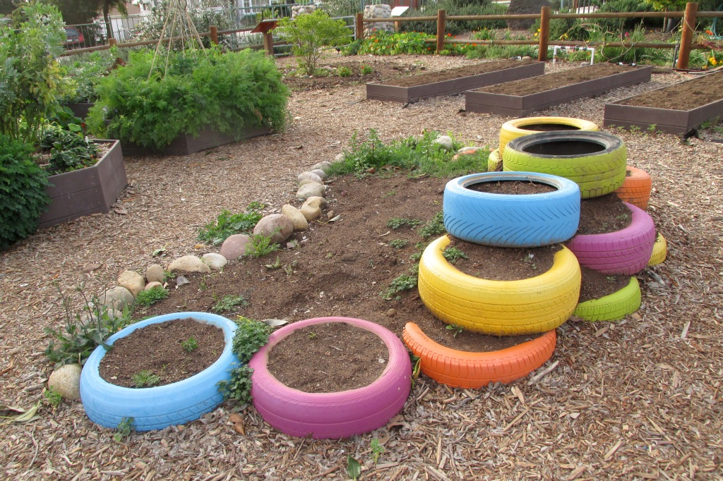 Tire garden -- we'll use these for our potatoetry garden!